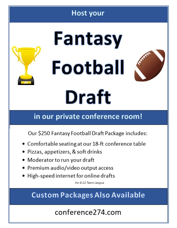 Host Your Fantasy Football Draft In Our Private Conference Room - Conference table football